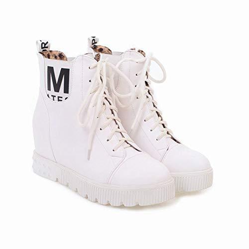 Plattform Spitze Knie Stiefel (XDX Frauenschuhe - Herbst Und Winter Frauen Warme Stiefel/Erhöhung Stiefel/Lace High Heel Plattform Stiefel / 34-39,Weiß,35)