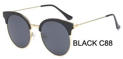 LKVNHP Marke Kunststoff Titanium Rahmen 23g polarisierte Sonnenbrille Frauen cat EyeMode uv beschützer hd Brille Spiegelweiblichewpgj090 schwarz c88