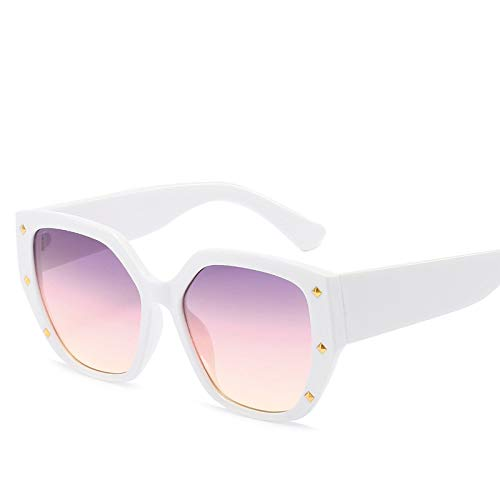 Yangjing-hl Big Frame Glasses Sonnenbrille Star Decoration Net Red Sonnenbrille White Frame Purple
