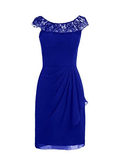 Dresstells, robe courte de demoiselle d'honneur mousseline sans manches, col ras du cou en dentelle Bleu Saphir