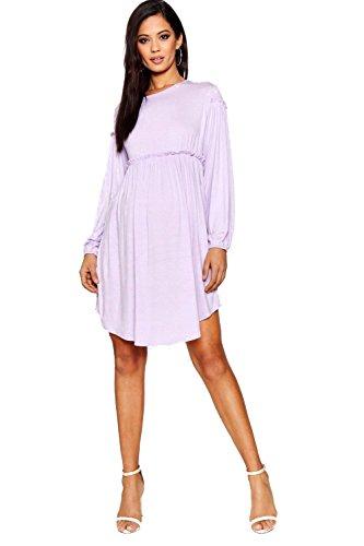 YPO Womens Mauve Maternity Laura Long Sleeve Smock Dress