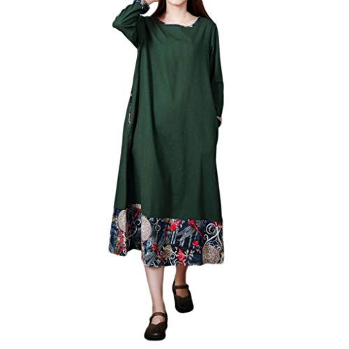 LOLIAN Damen Plus Größe Folk Custom Lose Lange Ärmel Spleißen Baumwolle und Leinen Kleid Drucken...