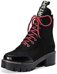QPYC Las señoras de gran tamaño botas femeninas del cordón de fondo grueso áspero con botas de motociclista Botas personalidad Martin Boots mujeres , black , 37