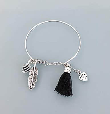 Bracelet jonc en acier inoxydable avec plume, pompon et une perle à parfumer, Bracelet Femme en acier inoxydable, idée cadeau, bijoux cadeaux, bijou plume