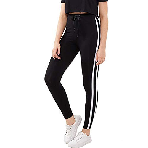 Sport Leggins Für Damen,Jogginghose Streetwear,Yoga Hosen High Waist Mit Streifen,Fitness Leggings,Freizeit Hosen Lang,Sporthose,Tight Leggings,Sweathose URIBAKY