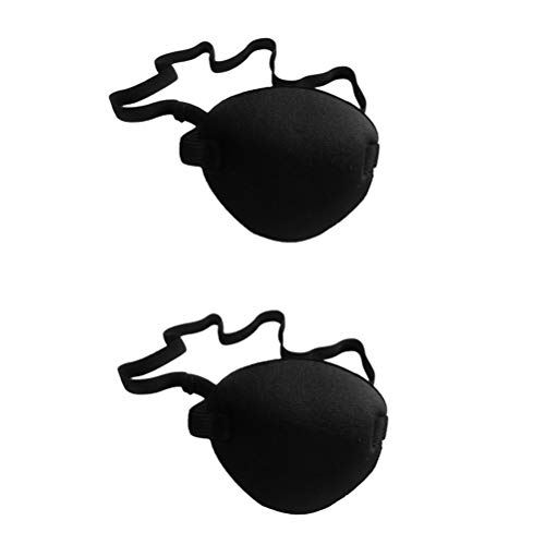 Toyvian Schwarz Piraten Augenklappe Cyclops Augenklappe Hochelastischen Schwamm Augenklappe Abdeckung für Männer (2 stücke)