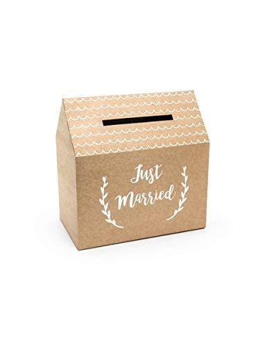 P&d pudtm7-031 - card box matrimonio in carta kraft con scritta bianca just married