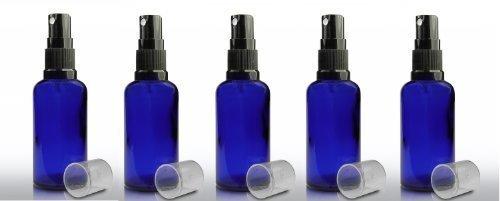 paquet-de-5-x-50ml-bouteille-en-verre-bleu-york-avec-le-capuchon-spray-noir-pulvrisateur-pour-laroma