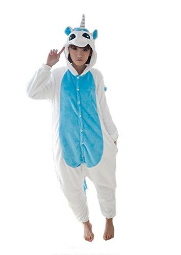 Pigiama Kigurumi Tuta Costume Animale Unicorno per Carnevale, Halloween, Festa, Cosplay Monopezzo in Flanella, Morbido e Comodo ... (Altezza 159cm-168cm/M, Unicorno azzurro1)
