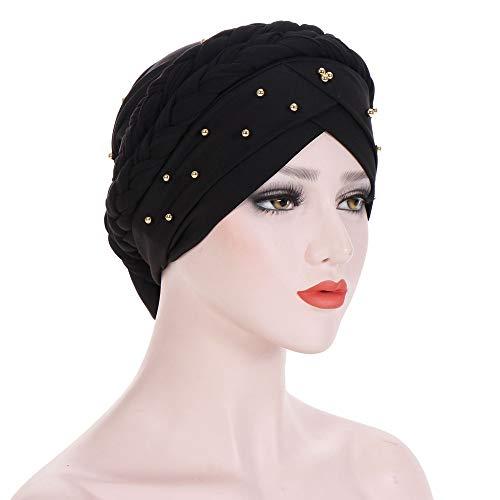 Ears Damen Muslimischer Hut, Frauen Perlen Indien Hut Moslemischer Rüschen Krebs Chemo Beanie Schal Turban Wrap Cap Stretch Retro Blumen Baumwolle Turban Beanie Hut Baggy Kopftuch Wrap
