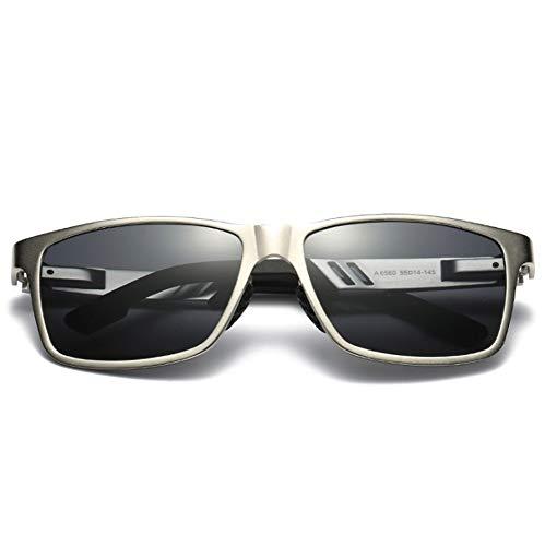 Bunte polarisierte Sonnenbrille für Männer, Fahren Angeln Laufen Reiten Radfahren Wayfarer UV Schutz Mode Sonnenbrillen für Frauen,Silver/Black