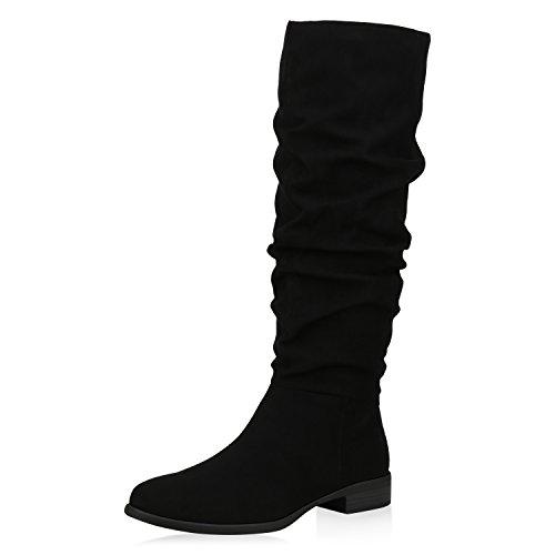 SCARPE VITA Klassische Damen Stiefel Veloursleder-Optik Boots Freizeit Schuhe 168413 Schwarz 42