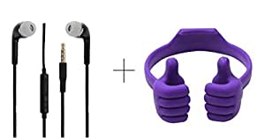 Alba Case Combo Of Premium Mobile Holder Mount Cradle Thumbs Up Ok Stand Purple and 3.5MM Stereo Dynamic Black Earphones / Ear Buds With Mic And Volume Control Button Compatible With Xolo Q1100 By Albacase™