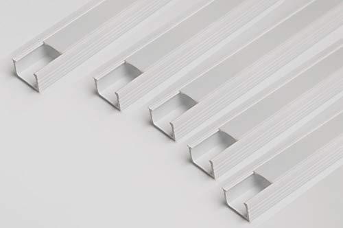 M) PVC weiss LED Profil Kanal mit Abdeckung milchig Profil 16 x 11 mm für Strip Beleuchtung Kanal PVC Profil für LED Streifen ()