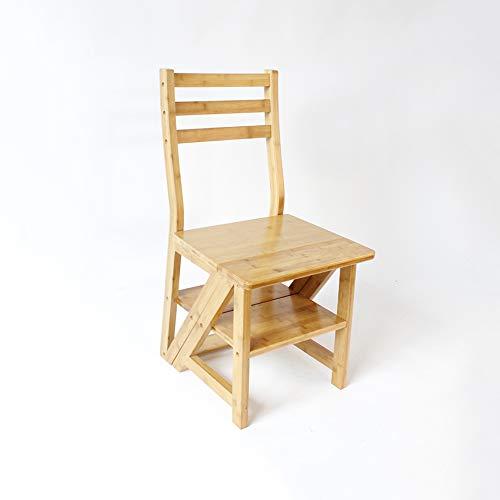 YQQ Tabouret À Échelle Domestique Fauteuil D'escalier Chaise Multifonctionnelle Chaise Pliante Chaise De Salle À Manger Chaise en Bois De Bambou Dossier (Couleur : Naturel)