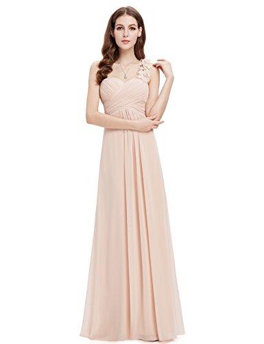 Ever Pretty Damen Blumen One Shoulder Chiffon Maxi Abendkleider 09768 Nackt Rosa