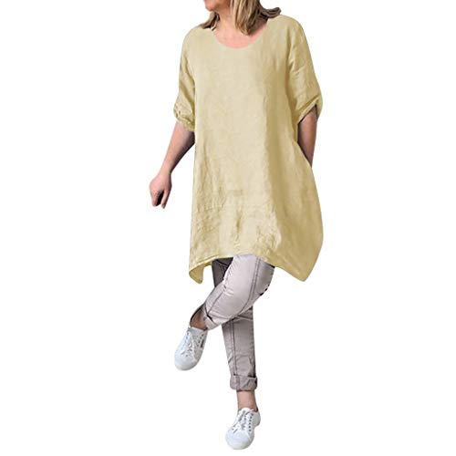 kolila Damen Leinenkleider T-Shirts Sommer Sale Womens Plus Size Lose Rundhals Casual einfarbig Kleid Tunika Bluse Tops(Beige,XL)