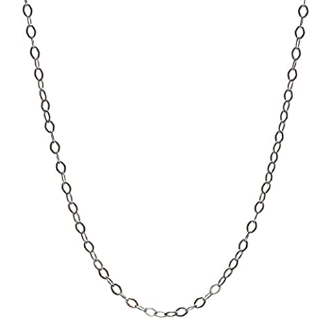 StarGems(tm) Solid 925 Sterling Silver 1.0 MM Handmade Boho Oval-Link Chain Necklace 18