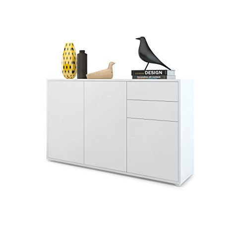 Kommode Sideboard Ben V3, Korpus in Weiß matt / Fronten in Weiß Matt