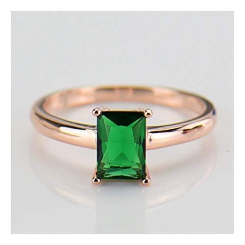 1f053d7a3e74 MTWTM Anillo De Plata Pura Moda Green Crystal High-End Cuadrado Anillo  Zircon Estética Señoras