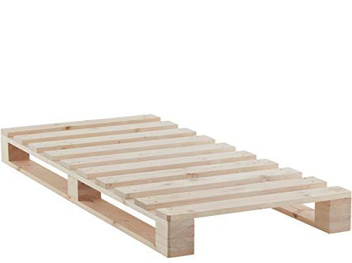 Atlantic Home Collection PIERA Palettenbett, Palettenmöbel im Industrial Design, Massivholz Fichte Natur, Holz, 90 x 200 cm