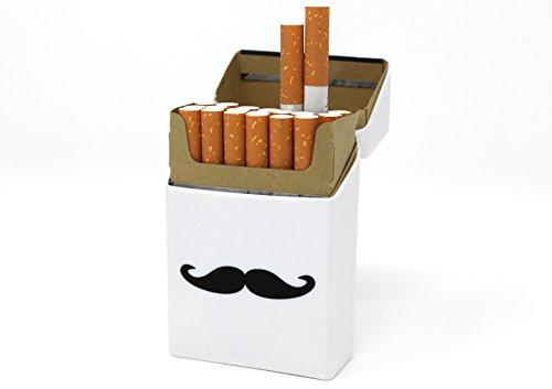 likon - Schnurrbart weiß Schnurri Bart - Zigarettenhülle - Zigarettenetui - passend für Zigarettenschachtel in Standardgröße - auch passend 21er Schachteln ()