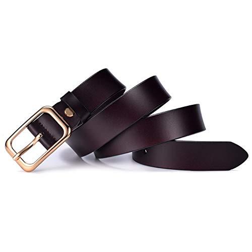 LLUFFY-Belt Gürtel der Leder damen Japanische Wortschnalle der neuen damen reines Leder Retro, 110cm, dunkle Kaffeefarbe