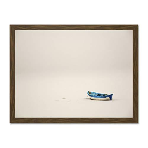 Doppelganger33 LTD Photo Landscape Boat Frozen Lake Picture Large Framed Art Print Poster Wall Decor 18x24 inch Supplied Ready to Hang Fotografieren Landschaft Boot See Bild Wand Deko