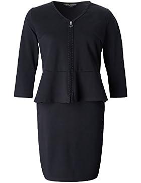Chicwe Vestido Conjunto 2 Piezas en 1 Tallas Grandes Mujeres Falda Elástica Estilo Peplum Camisa con Cremallera...