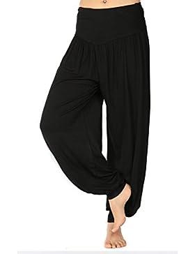 Pantalones Largo para Mujer - Moda Loose Fit Pantalon Harén Cómodo Cintura Elástica Color Sólido Casual Deportes...