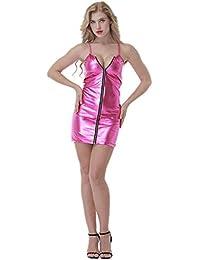 ZQJAN Frauen Eingestellt Sexy Reißverschluss PVC Kunstleder Kleid Lack Rock Night Show Kostüme XS-XXXXL Rosa(Rock + Tanga)