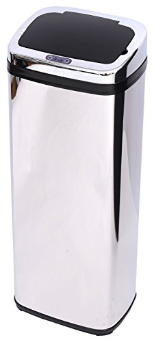 HOMCOM Edelstahl Automatik Sensor Mülleimer Abfalleimer IR Sensor mit/ohne Inneneimer rund viereckig 30L/50L (50L/viereckig)