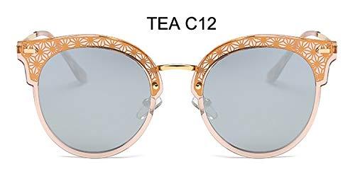 LKVNHP Festival uv400 polarisierte cat EyeSonnenbrille Damen Spiegel Modehohe qualität Anti-reflektierendeFrauen Brille wpgj102 Tee c12