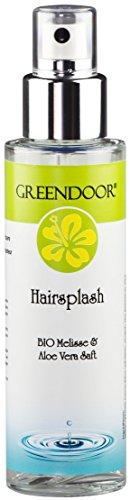 Greendoor Hairsplash, Feuchtigkeitsspray für Haare mit Bio Melisse und Aloe Vera, Föhnschutz, 100ml, vegan, ohne Silikon = silikonfrei, natürlich ohne Tierversuche, aus der Naturkosmetik Manufaktur, natürlicher Hydro Spray Haar Conditioner