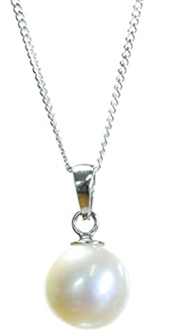 Beautiful 925 Sterling Silver 9.0mm White Pearl Ladies Pendant +