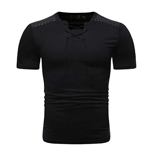 serliy Männer Casual Short Sleeve Fashion Unregelmäßiges Kurzarmhemd Einfarbig Einfaches T-Shirt mit V-Ausschnitt