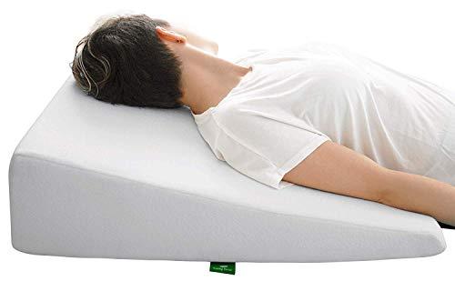 Cushy Form Keilkissen mit Memory-Schaumstoff-Oberseite, ideal zum Schlafen, Lesen, Ausruhen oder Aufheben, atmungsaktiver und waschbarer Bezug (19 cm Keilkeil), Weiß 7.5 Inch Bed Wedge Pillow weiß