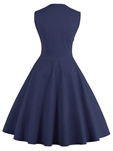 VKStar® Vintage 50er Jahre Rockabilly Kleid Ärmellos Retro Swing Elegantes Abendkleid mit Knöpfe Marineblau