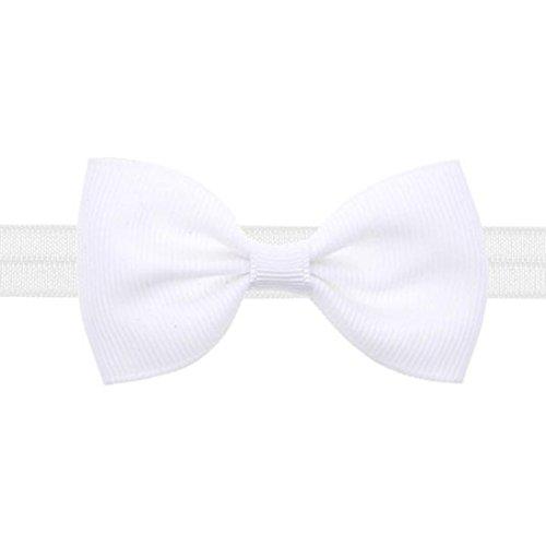 Lammfell-leder-mini (Jamicy® Baby Kinder Mädchen Mini Bowknot Hairband Elastisches Stirnband (Weiß))