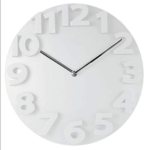 ZSLLO Stiller Fall der großen runden Wanduhr 3D der digitalen großen dekorativen Wanduhr des modernen Designs auf Wandküchenuhr-Wohnkultur Uhren (Farbe : Weiß)