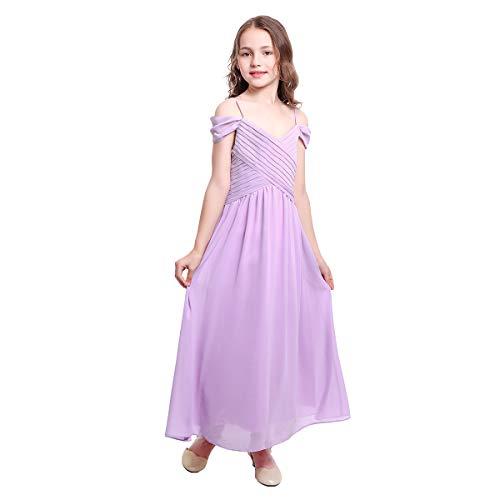 OBEEII Kleid Mädchen Ärmelloses Sommer Chiffon Schulterfrei Elegante Blumenmädchenkleider Kommunionskleid Taufkleidung Kostüm Helles Lila 11-12 Jahre (Alt Halloween Kostüme Elf Jahre)