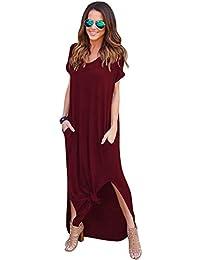 a1c6a51c8907 Donna Vestiti Lunghi Eleganti Estivi Vestito da Giorno Spacco V Scollo  Manica Corta Vestitini da Cerimonia