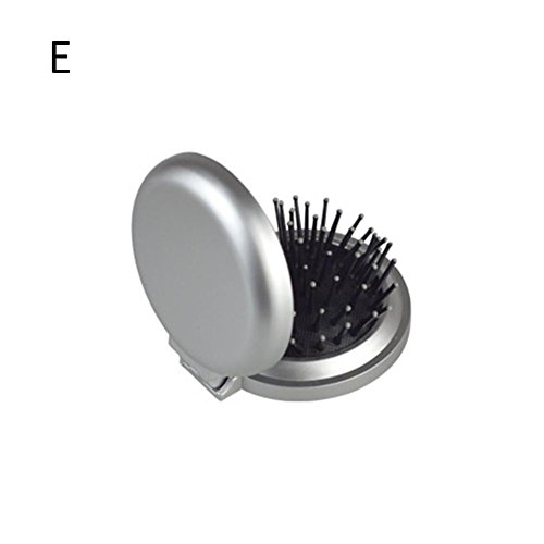 WAGA ^, 2Stück in 1klein faltbar kompakt mit Spiegel Massage-Kamm mit Tasche für Reise-Make-up - Und Spiegel Mini-haarbürste