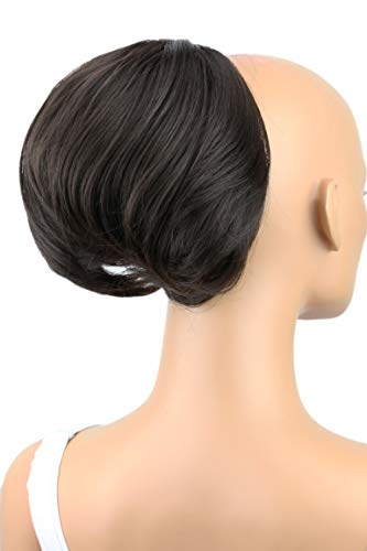 PRETTYSHOP Dutt Haarteil Zopf Haarknoten Hepburn-Dutt Haargummi Hochsteckfrisuren dunkelbraun #4 HD1 (Zopf Zöpfe Kostüm)