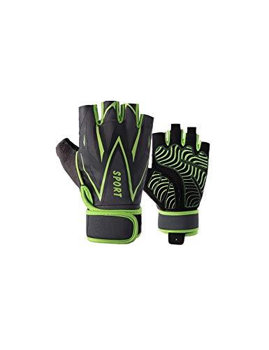 WYSTAO rutschfeste Handschuhe Sporthandschuhe für Männer und Frauen, die atmungsaktiv sind Verschleißfeste Halbfingerhandschuhe Fitness Fahrrad Dünnschliff Frühling und Sommer Herbst Grüne Handschuhe