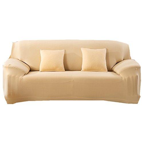 Sofa Bezug 1234-Sitzer-Stoffüberwurf, Schonbezug, elastischer Überwurf für Sofa, Sessel, Couch zum Schutz, Farbe: pure, beige, 2 Seater:145-185cm (Beige Stoff Sofa)