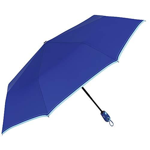 Paraguas Plegable Compacto Mujer Azul Liso Abre Cierra