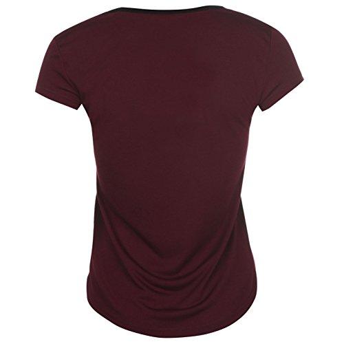 Lonsdale Femmes Logo T-Shirt Col Rond Tee Top Haut Casual Sport Manche Courte Violet