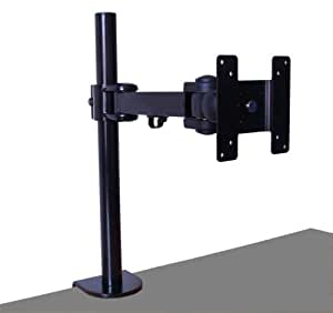 Cable Mountain Black Single Screen Vertical Monitor or TV Desk Arm Clamp