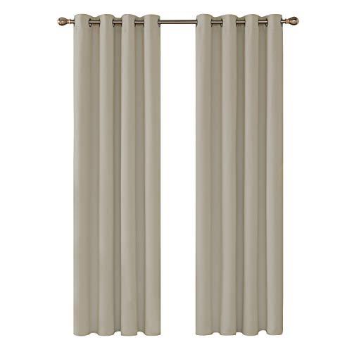Deconovo tende oscuranti termiche isolanti tende con occhielli 100% poliestere 140x260cm beige scuro 2 pannelli